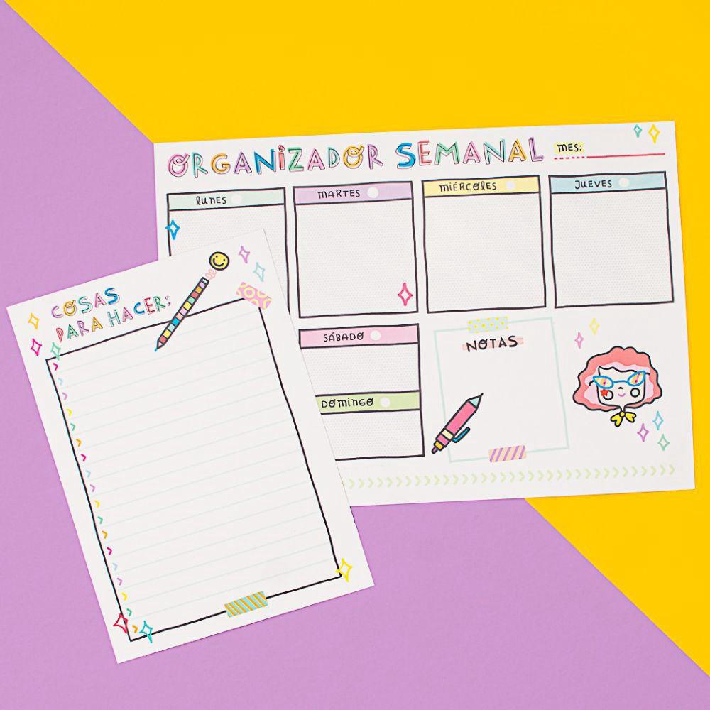 Organizador semanal perpetuo imprimible y lista de tareas :)